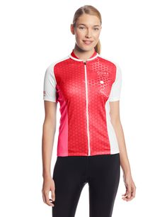 Gore Bike Wear Women's Element Hexagon Lady Jersey, Rich Red/White, Medium. Graphic design jersey with function for the female road cyclist. Full-zip for optimum ventilation. Slim fit. 3-compartment back pocket, slightly tapered on side for easy access. Full length zip with semi-lock slider. Zip-underflap. Close fit collar. Gripper elastic on bottom hem.