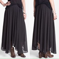Free People Maxi Skirt Beautiful and luxurious gold polka dot print maxi skirt by Free People.  Flirty and fun, perfect for any occasion. Free People Skirts Maxi
