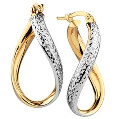 Go for something unique with these twist hoop earrings. Made from smooth yellow gold, accented by textured white gold, these earrings are the perfect 'twist' on a classic style. Gold Earrings, Gold Jewelry, Cool Necklaces, Classic Style, White Gold, Yellow, Unique, Hoop, Smooth
