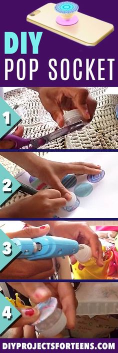 DIY Pop Socket Tutorial and Video - Cool Crafts and DIY Projects for Teens - Easy Craft Ideas for Teenagers - Cheap Phone Accessories, Hacks and Gadgets - Fun Ideas for Teens and Kids To Make This Sum(Diy Basteln Teenager)
