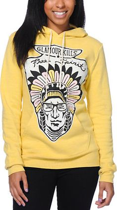 $49 Glamour Kills Free Spirit Yellow Pullover Hoodie at Zumiez : PDP