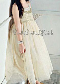 Princess Dress, Ivory Flower Girls Dress, Gold Girls Dress, Girls Ivory Dress, Tulle Girls Dress, Girls Lace Dress,