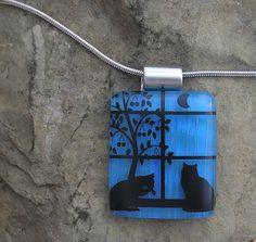 Cat Jewelry Cat Necklace Fused Dichroic Glass Cat Pendant via Etsy