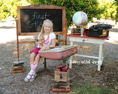 back to school photography ideas for kids...and I just found that desk at the swap meet!