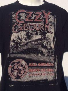 OZZY-Osbourne-Black-T-Shirt-sz-L-1980-Crazy-Train-No-Return-Pass-Concert