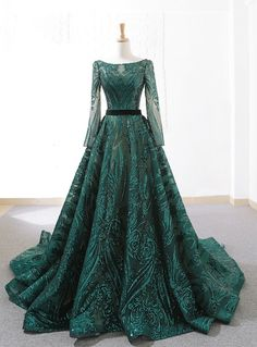 Silhouette:ball gown Hemline:floor length Neckline:bateau Fabric:sequins Shown Color:green Sleeve Style:long sleeve Back Style:lace up Embellishment:sequins Green Evening Dress, Long Sleeve Evening Dresses, Evening Gowns, Formal Dress Shops, Formal Dresses For Women, Lace Applique, Ball Gowns, Sequins, Fashion Dresses