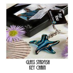 Glass Starfish Key Chain  Only $6.99
