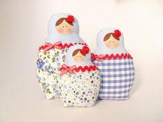 Matrioskas [Blue blossom] - Filz crafts