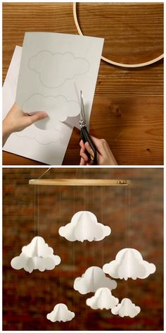 59 Ideas For Baby Diy Mobile Paper Clouds Diy Mobile, Cloud Mobile, Origami Mobile, Mobile Baby, Diy Origami, Hanging Mobile, Simple Origami, Mobile Craft, Origami Templates