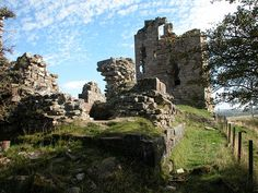 Remains of Sanquhar Castle - Once home of my ancestral Crichton family.  Located at very end of the village of Sanquahar, Dumfriesshire.