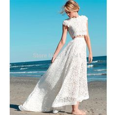 Romantic Two Pieces evening gowns,sexy ball gowns, custom made prom,new fashion, Beach Wedding Dress Lace Bridal Gown High Low Dresses - Best Wedding Gowns Two Piece Wedding Dress, Lace Beach Wedding Dress, New Wedding Dresses, Bridal Lace, Bridal Dresses, Wedding Lace, Party Dresses, Occasion Dresses, Wedding Summer