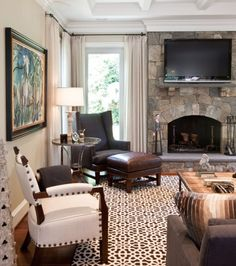 Like this rockwork - wouldn't necessarily need to go with rock above mantle height - Family Room - eclectic - family room - dc metro - Elizabeth Reich Decor, Fireplace Facing, Traditional Family Rooms, Room Design, Family Living Rooms, Home Decor, Stone Fireplace Designs, Interior Design, Living Design