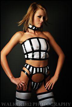 Bag & Tape Couture: Racing Stripes    Model:Marliese Leitner  Photographer:Jesse Walker