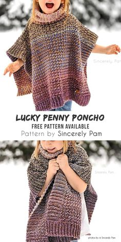 Lucky Penny Crochet Poncho by Sincerely Pam Lucky Penny Crochet Poncho by Sincerely Pam Diy Design 038 Ideas newdiydesign 1001 Crochet Ideas 038 Inspiration In winter we nbsp hellip Toddler Poncho, Girls Poncho, Baby Poncho, Crochet Toddler, Crochet Girls, Crochet Baby Clothes, Crochet For Kids, Crochet Ideas, Baby Vest