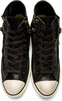 Converse By John Varvatos: Black Snakeskin Double Zip Chuck Taylor All Star Sneakers