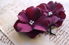 Purple Flower Hair Clips Bridal Hair Pins, Bridesmaids Hair Flowers, Autumn Wedding Hair Accessories, Plum Hydrangea Hair Clips by BelleBlooms on Etsy https://www.etsy.com/listing/129380394/purple-flower-hair-clips-bridal-hair