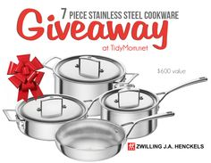 Zwilling Aurora 5-ply 7-pc Stainless Steel Cookware Set ($599) GIVEAWAY at TidyMom.net {ends 11-10-14}