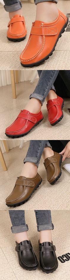 US$17.83 Soft Leather Pure Color Hook Loop Flat Comfortable Loafers