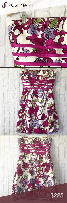 """Badgley Mischka strapless Silk Floral Corset dress Gorgeous and Slimming size 12 Badgley Mischka $525 Silk Floral Corset bubble hem dress! Beautiful floral pattern. Perfect ready to wear condition. Approx Bust 19"""". Waist 16.5, and 32"""" long. All laying flat (x2) Badgley Mischka Dresses Mini"""