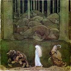 """John Bauer, """"One summer's evening they went with Bianca Maria deep into the forest"""", illustration for Helena Nyblom's The Changeling, 1913 (source). Aliens, John Bauer, Mother Images, One Summer, Framed Prints, Art Prints, Mothers Day Cards, Summer Evening, All Poster"""