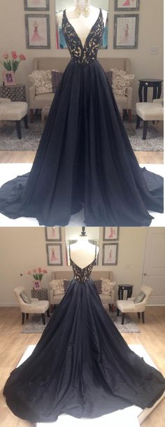 V-Neck prom dress,Lace Long Charming Prom Dresses, Floor-Length Evening Dresses,Prom Dresses,black prom dress