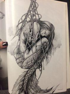 Love this mermaid art tattoo designs, art и drawings. Drawn Art, Arte Sketchbook, Mermaids And Mermen, Mermaid Tattoos, Wow Art, Mythical Creatures, Body Art Tattoos, Frame Tattoos, Tatoos