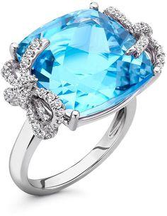 Kiki McDonough Diamond Bow 18k Gold Blue Topaz Ring on shopstyle.com