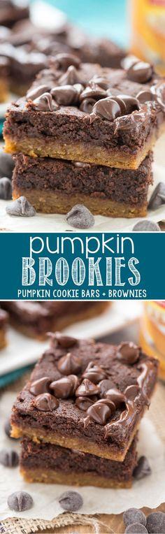 Pumpkin Brookies - EASY Pumpkin Cookie Bars with Brownies on top! We loved this…