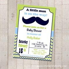 MUSTACHE Baby Shower Invitation Printable by OnceUponATwineDesign
