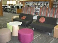 Williamsburg Public Library teen space. Not a fan of the round chairs. Are those things really comfortable?