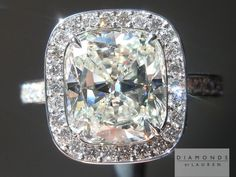 Super well cut J color Cushion Diamond in Hand Forged Halo Ring #whtediamondring #colorlessdiamond