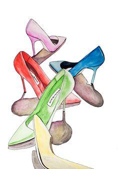 Original Fashion Illustration of Colorful Shoes