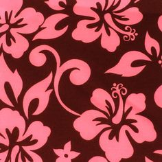 """Fabric, Hibiscus Flowers, Floral Fabric, Pink on Brown Fabric  Five - 6""""  Cotton Fabric Block Quilt Charm  5 Pieces  # 301-001 by AlwaysInStitchesCo on Etsy"""