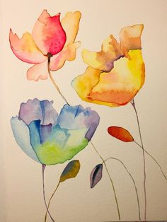 Simple And Easy Watercolor Paintings Ideas For Beginners – BuzzTMZ Watercolor Pencil Art, Watercolor Painting Techniques, Easy Watercolor, Watercolor Cards, Floral Watercolor, Painting & Drawing, Watercolor Paintings, Watercolors, Simple Watercolor Flowers