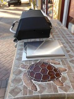 Ceramic Medium Brown Loggerhead Turtle Mosaic on Barbecue Area such a great idea!!!