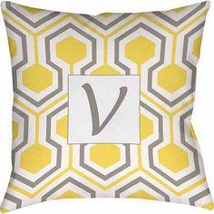 Thumbprintz Honeycomb Monogram Decorative Pillow, Yellow