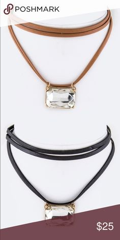 !Black Left! Chloe-Crystal Pendant Layer Chocker Crystal Pendant Layer Choker Features Faux Leather Choker and Crystal Pendant Available in Brown and Black Approximately 12' + ext Lead and Nickel Compliant. No holds, trades, or pp. Thank you! faith and sparkle Jewelry Necklaces