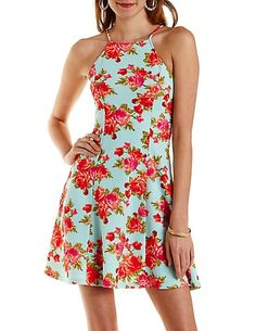 Racer Front Floral Skater Dress: Charlotte Russe