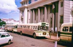 actual date unknown: KBS buses parked outside the Kenya National Archives in downtown Nairobi. Kenya Nairobi, Tourism Day, Erica, Mombasa, National Archives, African History, East Africa, Old Pictures, Historical Photos