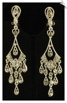 Vintage Style Chandelier Clip On Earrings Accented with Clear Rhinestones $28 also comes in Goldtones @ www.whimzgirlclipearrings.com