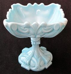 French Portieux Vallerysthal blue milk glass compote 6