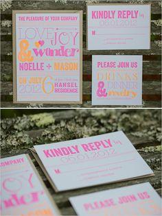 hot pink and orange wedding invite