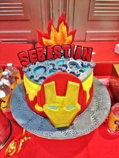 ironman themed party, birthday cake Iron Man Birthday, 5th Birthday, Birthday Party Themes, Birthday Cakes, Iron Man Theme, Ironman, Pastel, Dessert Table, Bar