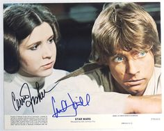 Show details for STAR WARS Autographed Lobby Card by Carry Fisher and Mark Hamill
