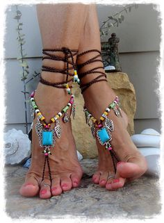 Pied de Native Cowgirl pieds tongs déclaration turquoise par GPyoga
