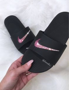 94d009c82046a8 Nike Kawa Slide Flips Flops customized with Ombré Crystal AB to Pink  SWAROVSKI® Crystals.
