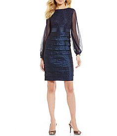 London Times Shimmer Layered Long Sleeve Dress #Dillards