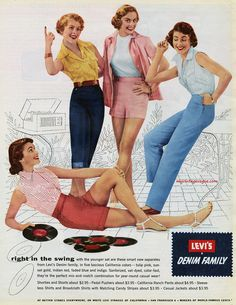Right in the swing! 1954 Levi's advertisement