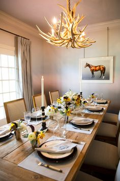 White Oaks Ranch Dining Room - One Room Challenge, Horse Painting by Rory MacKay, Linens by Loom Decor, Custom Monogram by Halo Home/Halo Studio Gifts, Flowers by Hope Hill Designs, Chair Fabric by Ronda Carman Fine Fabrics.