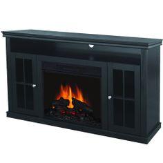 Quality Craft Electric Fireplace Media Unit, Walnut-basement ideas